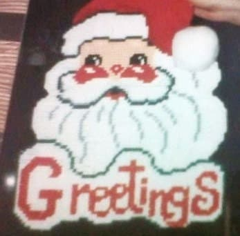 Santa Greetings Wall Decoration Needlepoint Plastic Canvas