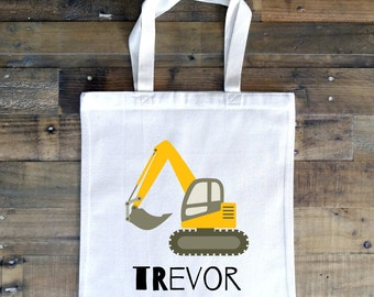 Construction Party Personalized Tote Bag// School Book Bag