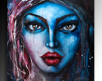 Art Print on Canvas Modern Portrait Abstract Art Contemporary wall art Painting