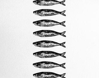 Twelve Sardines art print - fish screenprint, gift for cooks, kitchen decor art