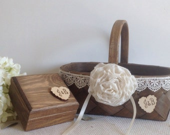 Flower girl basket and ring bearer box with wedding ring pillow, rustic wood and lace trim