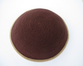Dark Brown and Beige Kippah. Handmade Crochet Kippah. Hand knitting Yarmulke. Dark Brown Yarn of Cotton with Beige line at the edge.