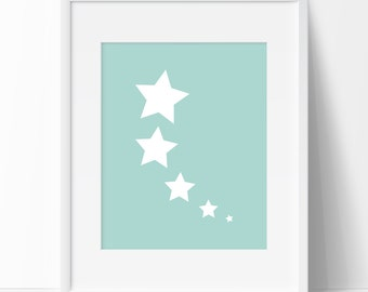 Seafoam Shooting Stars, Nursery Print, Minimalist Art, Seafoam Print, Nursery Art, Graphic Art, Printable Art, Wall Design, Home Decor