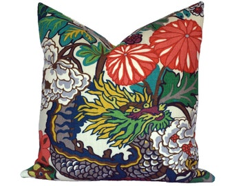 BOTH SIDES - Schumacher Chiang Mai Dragon Alabaster Designer Pillow Cover - Choose Your Size