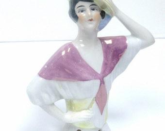 Pincushion Doll, Spanish Lady, Vintage Lustreware Finish Half Doll, German