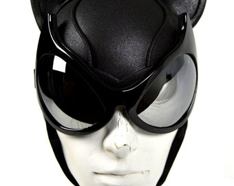 Batman Cat Woman Arkham City Cowl with Mirrored Cat Goggles
