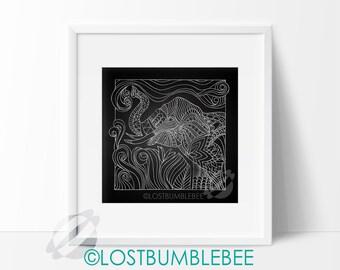 ELEPHANT Chalkboard // Large INSTANT DOWNLOAD / Chalkboard 12x12 Poster Size Print  / Hand Drawn / Sketch / LostBumblebee