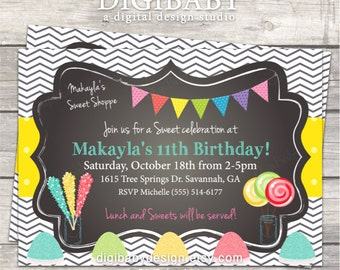Candy Birthday Invitation in grey chevron chalkboard with yellow pink and greens, printable digital files