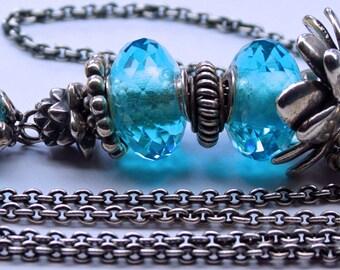 925 Silver Fantasy-Necklace with facetted Sky Blue Quartz Pendant