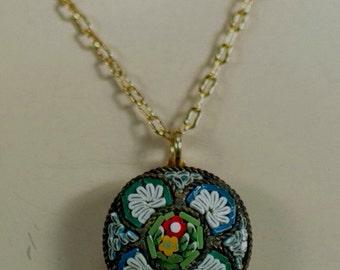 Vintage Italian Micro Mosaic Pendant, Mediterranean Jewelry, 30's Jewelry, Retro Mosaic Necklace, Micro Mosaic Jewelry, Flower Jewelry