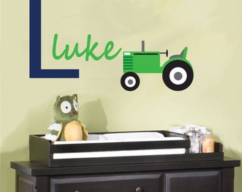Tractor Monogram Wall Sticker Decal REUSABLE Fabric Decal