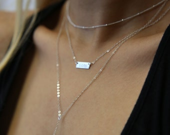 Layered Necklaces Set, Mini name plate and simple Lariat Layering Combo - Set of 3 three necklaces . gift for her