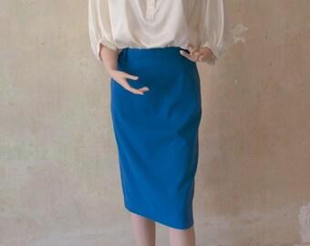 Sky Blue 80s Vintage Pencil Skirt Size M E D I U M