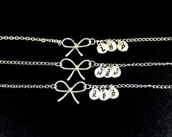 Three Sterling Silver Bow Bracelet Set.Handmade Bow Jewelry.Three Initial Disc.Tie the Knot Bracelet.3 Bridesmaid Bracelets. 3 Best Friends.