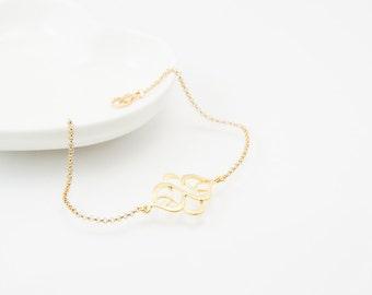 Oriental bracelet, daity bracelet, gold bracelet, charm bracelet, gold chain bracelet, cute bracelet, friendship bracelet, gold chain