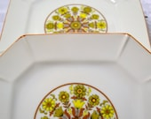 Vintage Vicki Bread Salad Plate Set of 4 Square Yellow Gold Brown Floral Design Replacement PanchosPorch