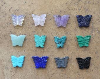 Zuni style Stone Butterfly beads, 12 pieces -- Asst Lapis, Malachite, Turquoise, Amethyst, Blue Goldstone, Green Aventurine, Black Onyx