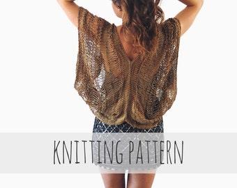 PATTERN for Loose Knit Metallic Cardigan Shrug Drop Stitch Boho Summer Sweater // Monarch Cardigan PATTERN