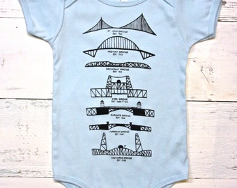 Portland Bridges bodysuit. Portland baby one piece. American Apparel. Oregon baby. Hand drawn.
