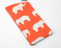 Glasses Holder, Sun Glasses Case, Cute Eyeglass Case in Organic Coral Elephant Fabric