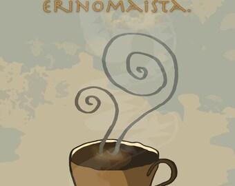 Kyllä kahvi hyvää,,,  Huoneentaulu, pigmenttiprintti akvarellipaperille