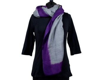 MERINO WOOL SCARF - Fine Grey Scarf with purple border
