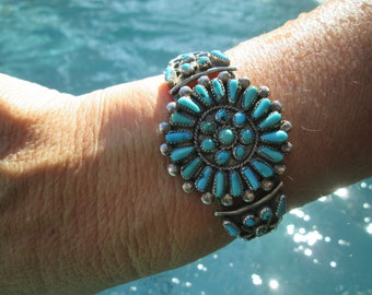 Petit Point Turquoise and Sterling Silver Cuff Bracelet #2