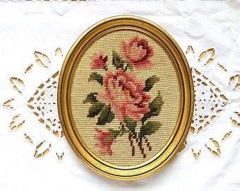 French vintage framed needlepoint picture, framed tapestry of flowers, roses,shabby chic