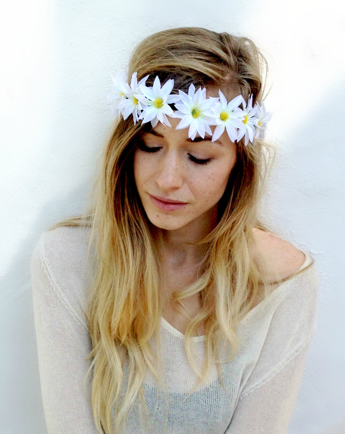 White Daisy Flower Crown Daisy Headband by TheBloomingBeauty