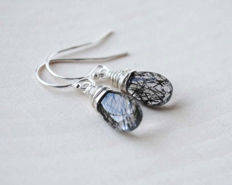 Quartz Earrings, Tourmalinated Quartz Earrings, Tourmalinated Quartz Drop Earrings