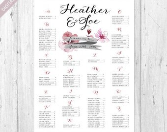 Alphabetical Vintage Wedding Seating Chart - Printable Customized Floral Watercolor wedding seating board - DIGITAL file!