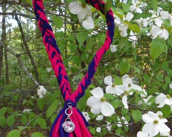Braided Scarf Necklace in Hot Pink and Purple with Crystal Charm Gift for Her