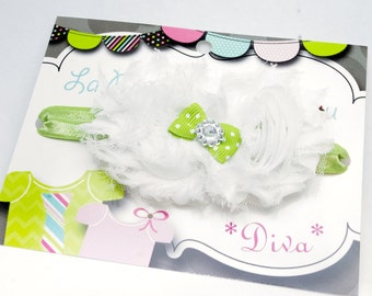 Headband with flowers, baby and toddler girl accessories, green and white, diva headband