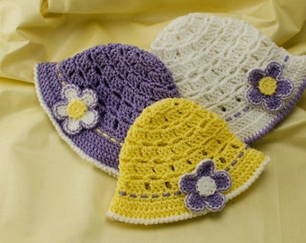 Crochet Baby Hat Pattern: Baby Sun Hat, PDF download