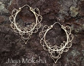 Brass Elven Queen Hoops with Sterling Silver Ear Wires - Dramatic and Delicate Light Weight Scroll Design, Feminine Majesty