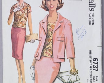 1960s Jacket, Skirt and Blouse Pattern // Women's Suit Pattern // Jackie O // Vintage Sewing Pattern // McCall's 6737 Size 16 Bust 36
