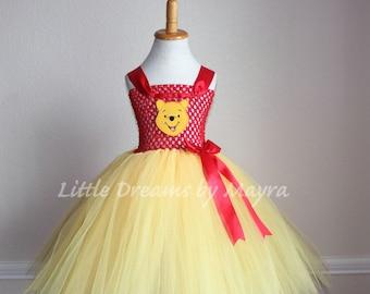 Winnie the pooh inspired tutu dress and FREE bow, Winnie the pooh costume inspired size nb to 12years