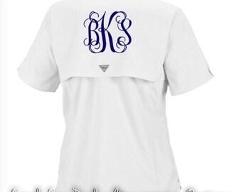 Embroidered Monogrammed White Columbia PFG Fishing Shirt