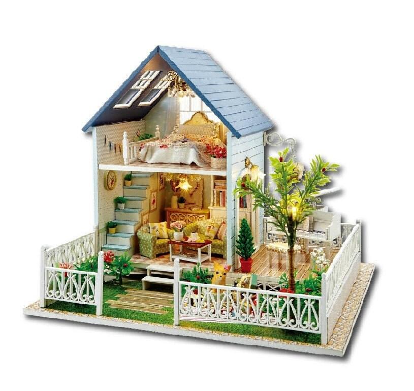 Miniature Dollhouse DIY Kit Dollhouse With LED Lights And