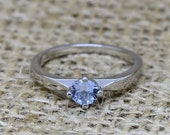 Genuine Aquamarine solitaire ring  available in titanium or white gold  engagement ring  wedding ring