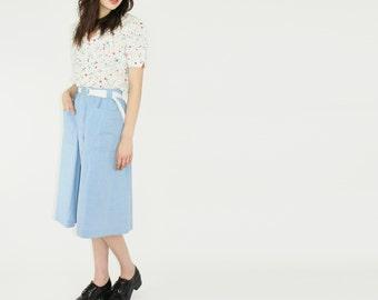 vtg 80s button through skirt baby blue midi skirt button through midi skirt large lrg l