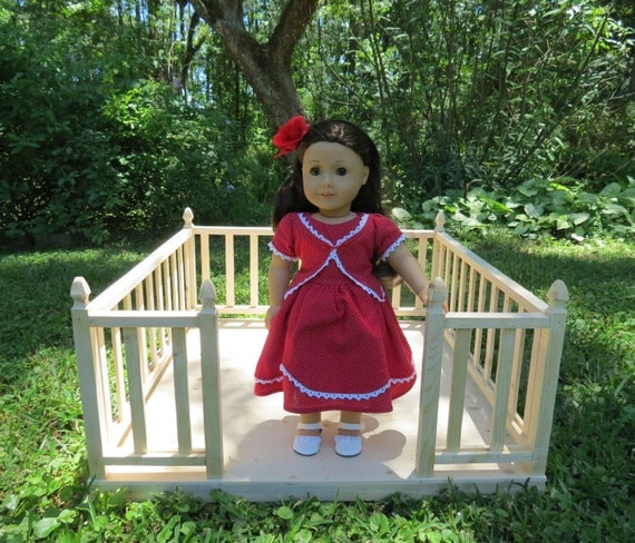 Doll garden deck for american girl 18 inch by lemonbaydollco for Garden tools for 18 inch doll