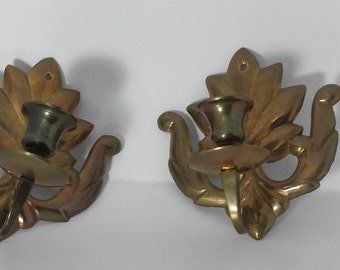 A Pair of Vintage Brass Candle Holders Sconces