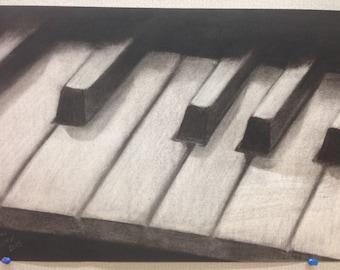 Piano Keys Charcoal Drawing