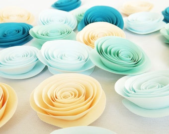Mint Paper Flowers, Blush Paper Flowers, Mint and Blush Wedding, Table Scatter, Loose Paper Flowers, Rehearsal Dinner, Wedding Paper Flowers