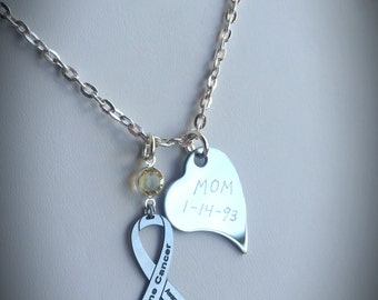 Personalized Bone Cancer Awareness Necklace - Ribbon Jewelry, Support Custom Charity, Heart with Your Custom Message