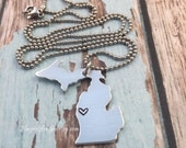 Michigan Jewelry - Michigan Shaped Hand Stamped Aluminum Pendant Charm Necklace - State Pride -