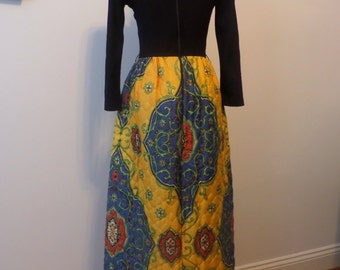 Vintage Boho Maxi Dress Quilted Bodice
