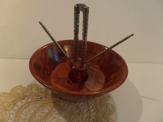 Vintage wood nut bowl mid century by theflyinghostess on etsy