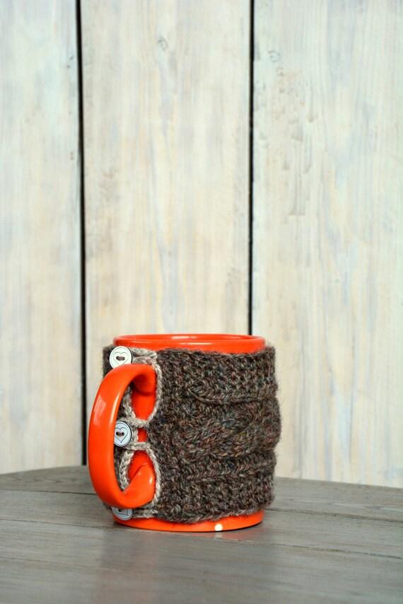 Mug Sweater Knitting Pattern : Knitted Mug sweater. Natural Wool Mug Warmer by HandiCraftbyJane